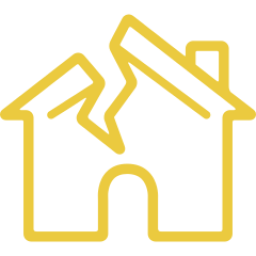 An icon depicting a house with a broken roof.