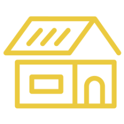 An icon depicting a house with a new roof.