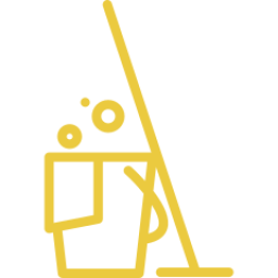 An icon depicting a mop and bucket