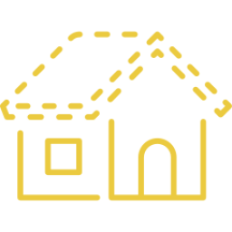 An icon depicting a house with no roof.