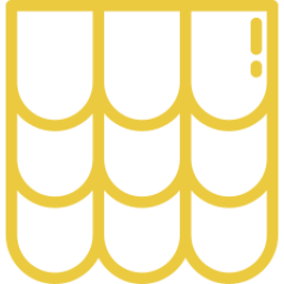 An icon depicting a set of roofing tiles.